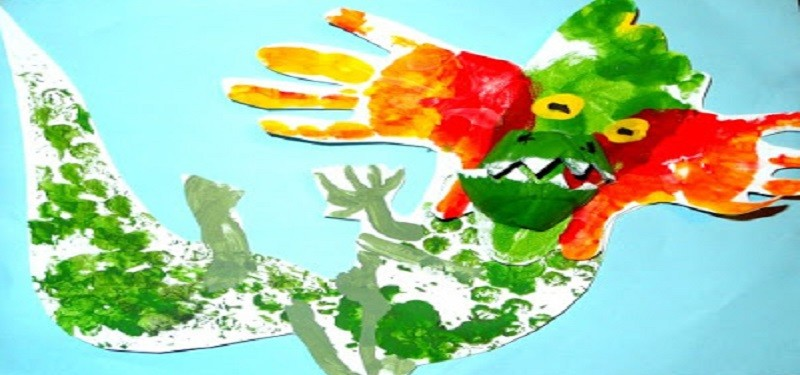 Kids Craft- Hand and Footprint Chinese Dragon