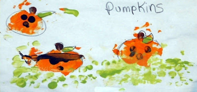 Painting Palm Pumpkins with Toddlers